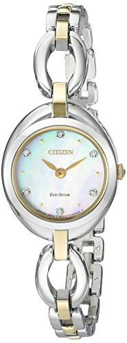 Citizen Eco-Drive Women's 'Silhouette' Quartz Stainless Steel Casual Watch, Color Two Tone (Model: EX1434-55D)
