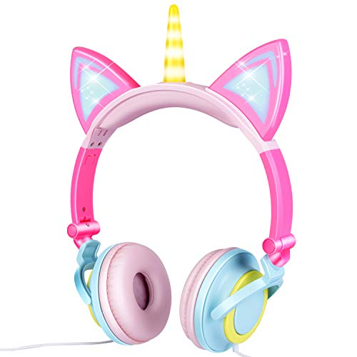 GBD Unicorn Kids Headphones Wired Adjustable with Mic for Boys Girls Tablet Back to School Supplies, Kids Headband Earphone Foldable Over On Ear Game Headset Toddlers Travel Birthday Gifts (Pink)