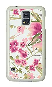 Samsung S5 Case,VUTTOO Stylish Pink Floral Art Hard Case For Samsung Galaxy S5 / Galaxy SV / Galaxy S V - PC White