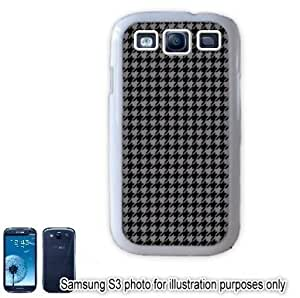 Gray Grey Black Houndstooth Check Pattern Samsung Galaxy S3 i9300 Case Cover Skin White