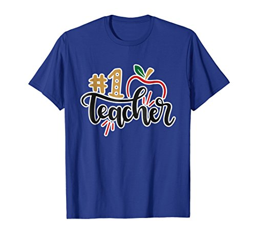 1 Teacher Apple (#1 Teacher with Apple T-Shirt T Shirt Tee Shirt Teacher Gift)