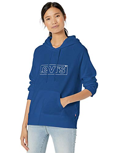 Levi's Women's Graphic Sport Sweatshirt, Box tab Outline Hoodie Sodalite Blue, Small