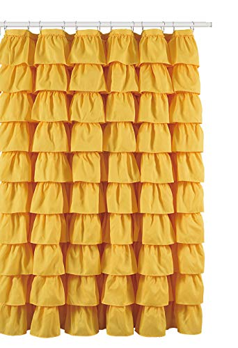 Flamenco Ruffle Shower Curtain (Yellow) ()