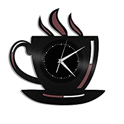 VinylShopUS Coffee Cup Vinyl Wall Clock Travel Souvenir