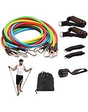 11 قطعة المقاومة واللياقة البدنية مجموعة مع تكديس التمارين أشرطة الأرجل والكاحل متعددة الوظائف محترف معدات اللياقة البدنية