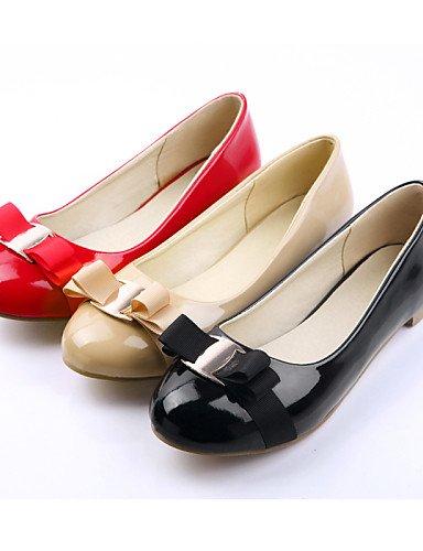 Negro Uk4 us6 Punta 7 almendra rojo Talón Piel Almond de Redonda Mujer 5 5 De Eu37 Plano Zapatos Sintética 5 Cn37 Casual Flats Pdx A7aRnpq