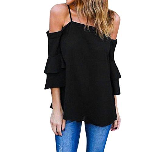Han Shi Chiffon Blouse Women Fashion Off Shoulder Tank Top Bell Sleeve Shirts (Black, XL)