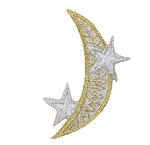 Gold Moon and Silver Stars Iron on Patch