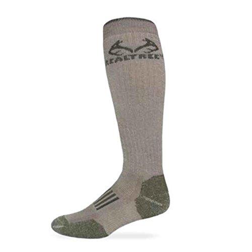 RealTree 9806 Heavyweight Merino Wool Tall All Season Boot Socks, Tan/Olive