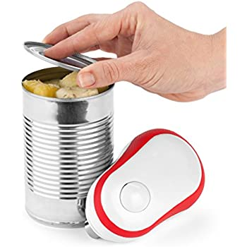 Bartelli Soft Edge Automatic Electric Can Opener with Assistive Auto-Stop - Red