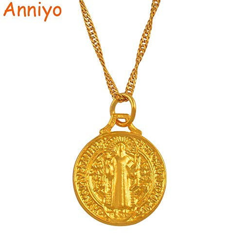 LTH12 Pendant Necklaces - Saint Benedict Medal Pendant Necklace Gold Color Catholic Church Jewelry Gift for Women Girl Catholic Necklaces #133706 1 - Horse Medallion Earrings Sterling Silver