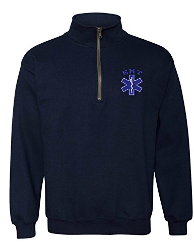Gift Box Team Lined (Allntrends Adult Zip Collar Sweatshirt EMT Embroidered Emergency Medical Top (XL, Navy Blue))