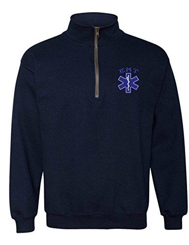 Navy Zip Embroidered - Allntrends Adult Zip Collar Sweatshirt EMT Embroidered Emergency Medical Top (XL, Navy Blue)