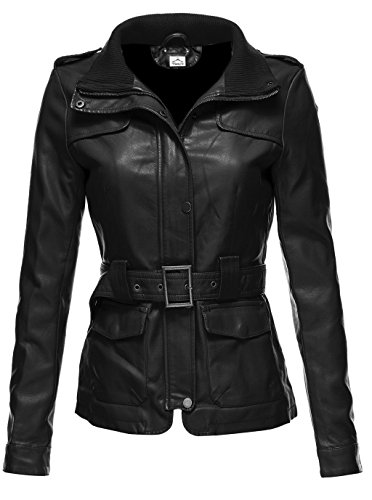 Genuine Womens Trench Coat (VearFit Utiline Missy Regular & Plus size Genuine Leather Trench Coat for women, X-Large, Black)