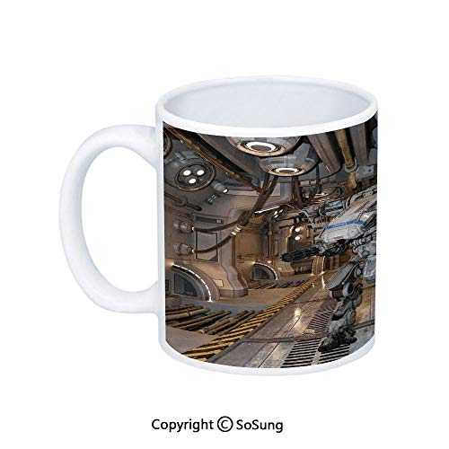 War Home Decor Coffee Mug,Battle Robot with Weapons in a Ship Technological Combat Futuristic Warfare Image,Printed Ceramic Coffee Cup Water Tea Drinks Cup,White