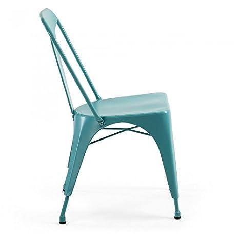 Hogar Decora Pack 4 sillas Metal Turquesa 85x44x53 cm ...