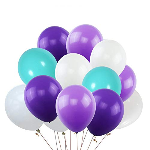 Mermaid Party Balloons,100 Pcs 12 inch 3.2g Thicken Pearlized Latex Balloons for Girl's Mermaid Birthday Party,Baby Shower Decoration,Wedding Supplies,Under the Sea Party,Ocean Theme,Mermaid Tail Balloon Garland Set(White+Tiffany Blue+Dark Purple+Light Purple) -