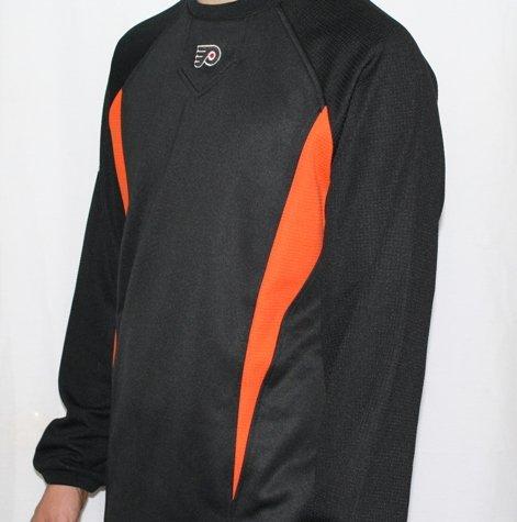 NHL Philadelphia Flyers Therma Base Long Sleeve Crew ECE Pullover, Pro Black/Pro Orange, (Orange Therma Base)