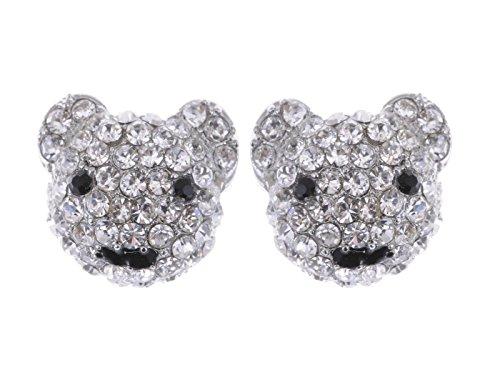 Happy Anime Smile Teddy Bear Ice Bling Clear Crystal Rhinestone Stud (Bling Teddy)