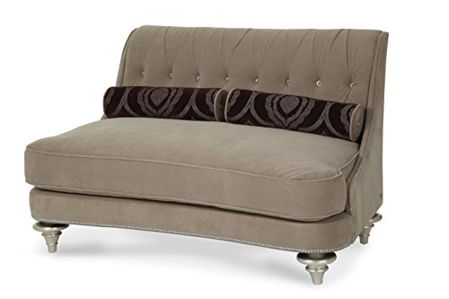 Michael Amini 03864-TAUPE-05 Hollywood Swank Op2 Settee, Platinum
