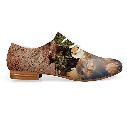 Desert Leather Lace up Oxfords Shoes,Majestic Sky View Palm Trees and Cactus in Oasis Morocco Tropic Nature Bootie for Girls ladis Womens,US - Curtain Oasis