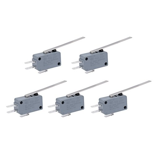 Uxcell AC 250V 16 Amp SPDT Long Straight Hinge Lever Mini Limit Micro Switch (5 Piece), Green (Kw3 Switch)