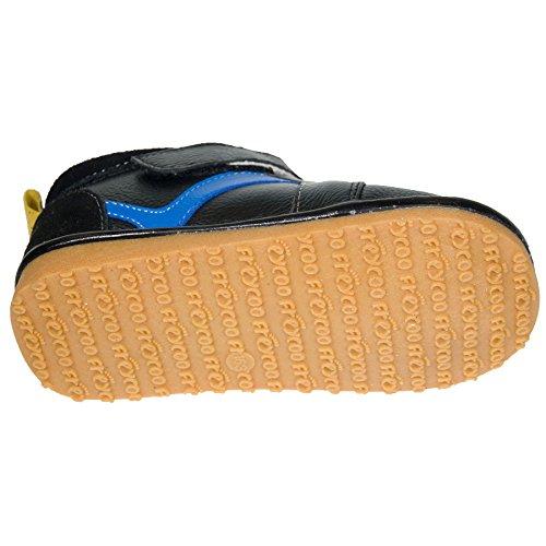 FREYCOO–Chaussures Jouet couineur Cheville Bottes en cuir véritable–Pour enfant pour garçon polaire noir avec coussins–avec corne à chaussures