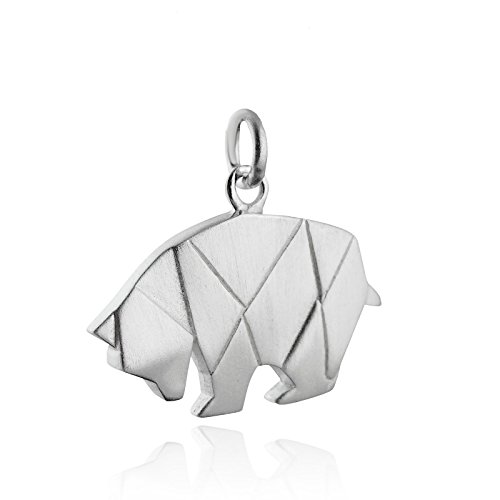 Animal Italian Charms - Origami Bear Charm - 925 Sterling Silver - Animal Grizzly Brown Black Woods - Jewelry Accessories Key Chain Bracelets Crafting Bracelet Necklace Pendants