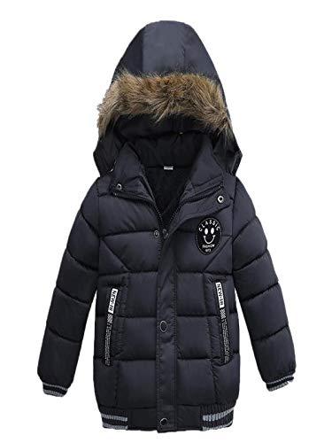 iYBUIA Unisex Fashion Kids Letter Print Coat Boys Girls Thick Coat Padded Winter Jacket Clothes(Navy,120)