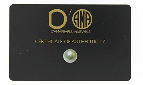 D 'ama pour femme Argent sterling Perle de culture d'eau douce (7,5-8mm) Pendentif Collier, 40,6cm
