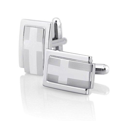 INSTEN Silver Rectangle Cufflinks with Cross - Cufflink Cross