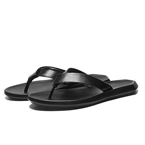 Chancletas La Los Playa Eu Correa Hombre Black Casual Planas Size Zapatos Genuino Hombres color 43 Suaves Cuero Para De Black Zapatillas Antideslizantes Sandalias Negro qwYIAYCE