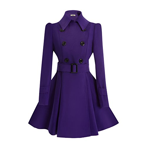 ForeMode Women Swing Double Breasted Wool Coat with Belt Buckle Spring Mid-Long Long Sleeve Lapel Dresses Outwear(Purple XXL)