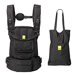 LÍLLÉbaby Serenity Airflow Six-Position Ergonomic Baby and Child Carrier with Convertible Tote, Black