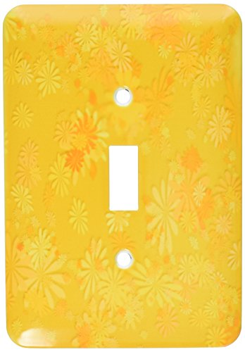 3dRose lsp_38563_1 Fanciful Whimsical Array of Various Flowers in Shades Of Single Toggle Switch Gold -