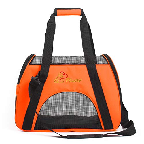 Pawer Soft-Sided Pet Carrier for Cat and Small Dog,Orange Color,Medium Size,Washable Cloth Airline Approved Travel Tote,with 2 Mesh Opens and a Strap for Carry,Multiple Colors Available