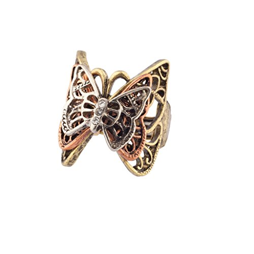 Ring Stone Gold Multi (Lux Accessories Multi Butterfly Pave Burnished Stretch Ring)