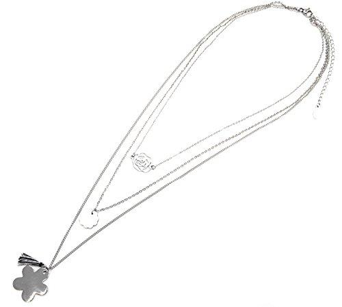CL1474E - Sautoir Collier Multi-Rangs Pendentifs Fleurs Ajourée, Résine et Acier Argenté