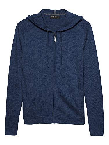 Banana Republic Men's Premium Luxe Cotton Cashmere Blend Full Zip Hoodie Sweater Heather Blue (Large) ()
