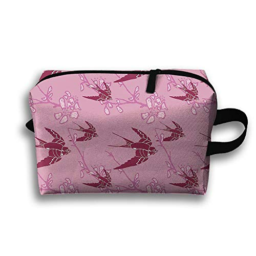 Sparrow Pattern Cosmetic Bags Makeup Organizer Bag Pouch Zipper Purse Handbag Clutch Bag -