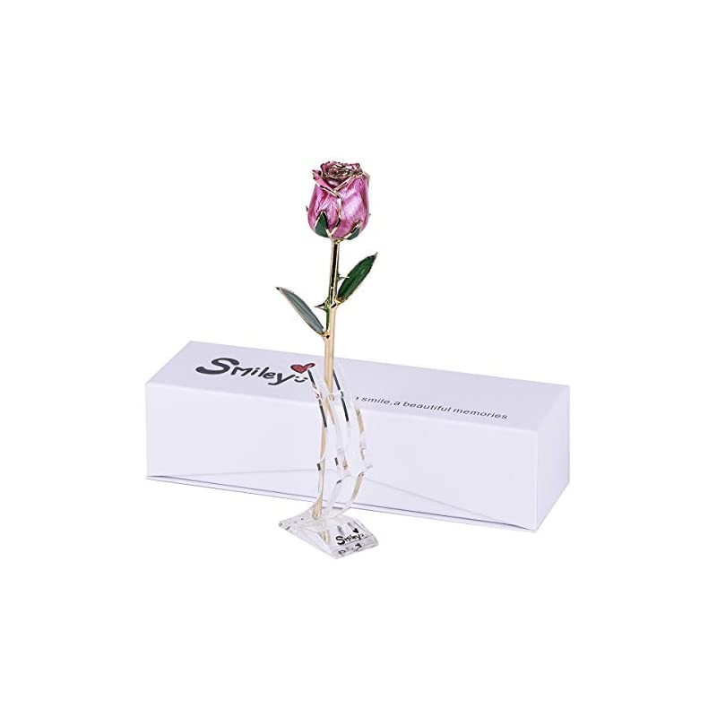 silk flower arrangements smiley graduation gifts for her - 24k gold dipped real rosewith box&moon stand,forever gifts for her,girlfriend, wife on anniversary, valentine's day, birthday, christmas (b-pink)