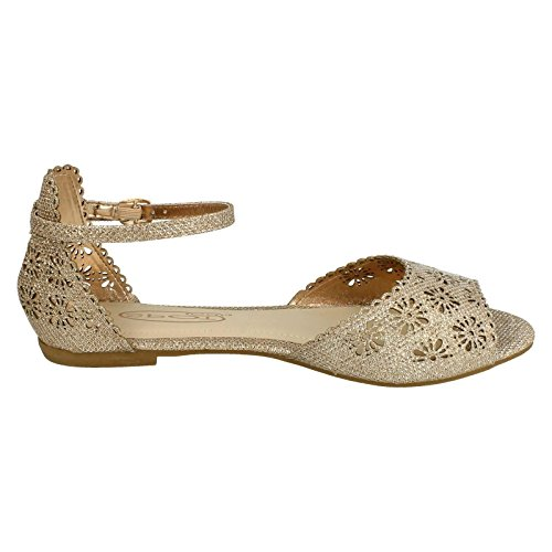 Womens Spot On Floral Design Vamp Sandals Rose Gold pUmeadIb