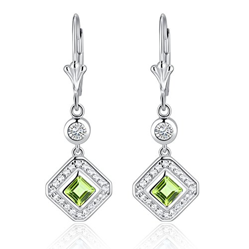 Sterling Silver Square Cut Genuine Aquamarine, Garnet, Blue Topaz or Peridot & White Topaz Leverback Drop Earrings (peridot)