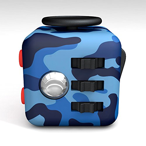 Tepoinn Fidget Attention Cube Relieves Stress and Anxiety Educational Development Toys for Children and Adults, Camouflage blue -