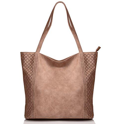 KISS GOLD(TM) Leisure Canvas Tote Shoulder HandBag for Women Crossbody Bag for Women (Coffee)