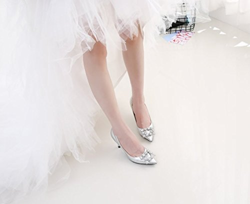 MDRW-Lady/Elegant/Arbeit/Freizeit/Feder Hochzeit Schuhe Wasser Heels Bohrer Silber Sharp 8 Cm Heels Wasser Feine Heels Braut Schuhe 38 cab784