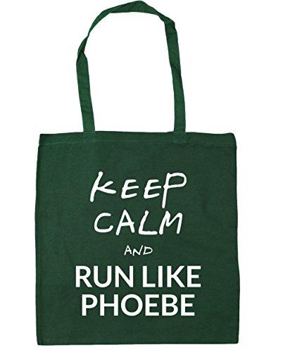 HippoWarehouse Keep Calm and Run Like Phoebe (Mantén la calma y corre como Phoebe) Bolso de Playa Bolsa Compra Con Asas para gimnasio 42cm x 38cm 10 litros capacidad Verde Botella