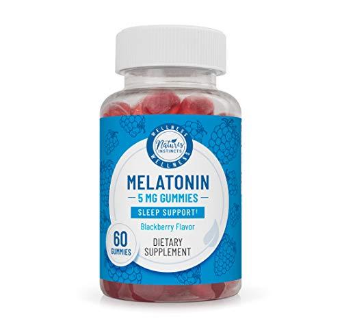 Nature's Instincts Melatonin 5 mg Gummies for Sleep Support (BlackBerry Flavored) | Natural Sleep Aid | Vegan & Gluten-Free, 60Count ()