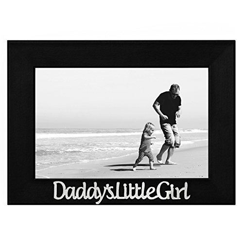 Daddy's Little Girl Picture Frame, Glass Front - Color: Black - Fits Photos 4x6 - Easel Back for Table Top Display Little Frame