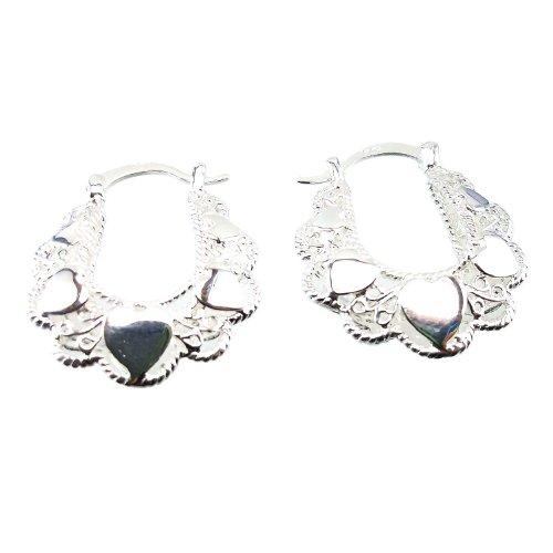 DaisyJewel Heavenly Heart Hoops - Silver Sculpted Leverback Earrings